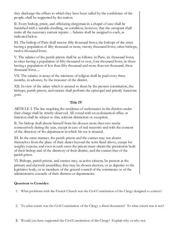 civil constitution of the clergy document
