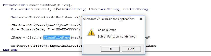 runtime error 1004 document not saved
