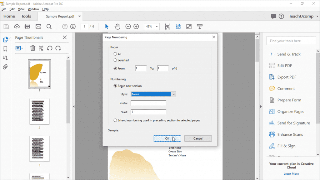 how to add numbers to a pdf document