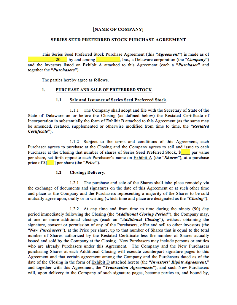 document for signing shares during incorporation