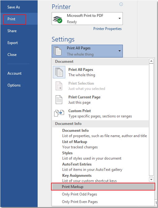 how to print a word document with comments