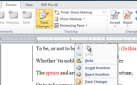 how to do track changes in word document