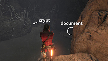 document near the voice of god tomb raider