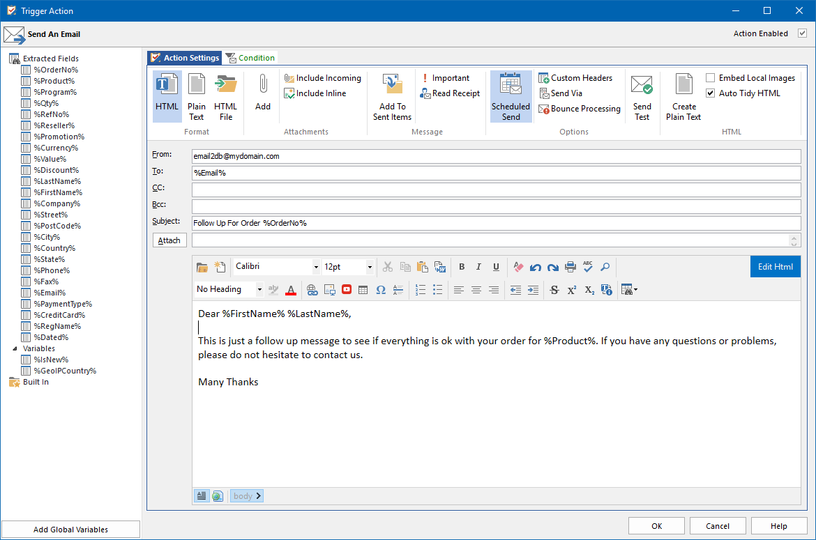 enter email address in document