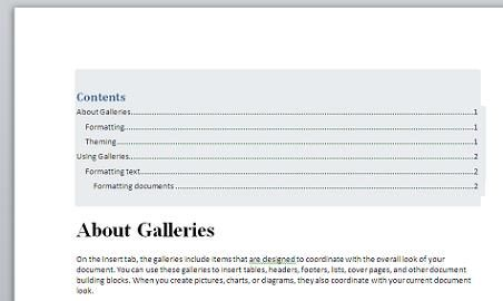 word document table of contents