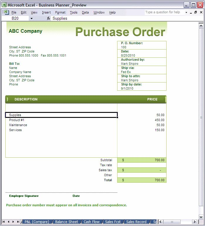 word document purchase order form