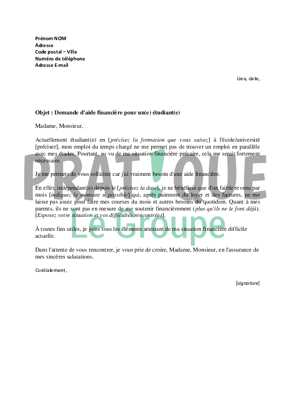 exemple de lettre explicative pour un document