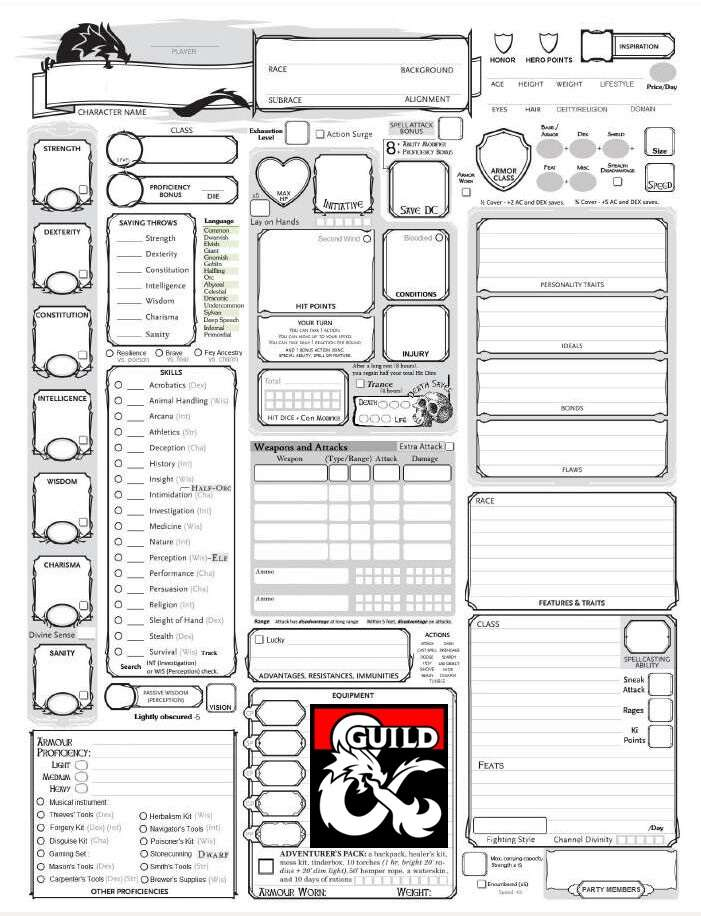 5th edition character sheet word document