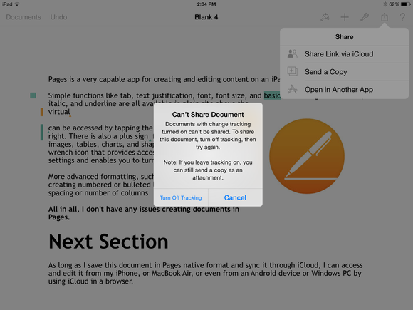 how to send a word document on ipad