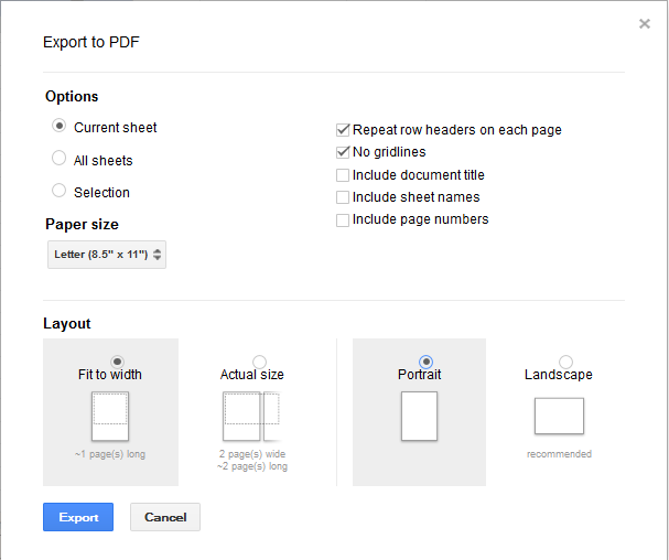 how to make a document portrait in google docs