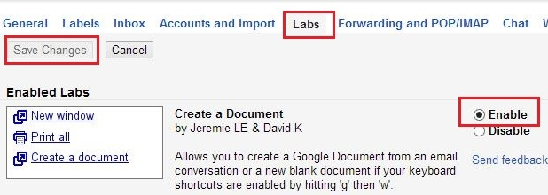 gmail create a document lab missing