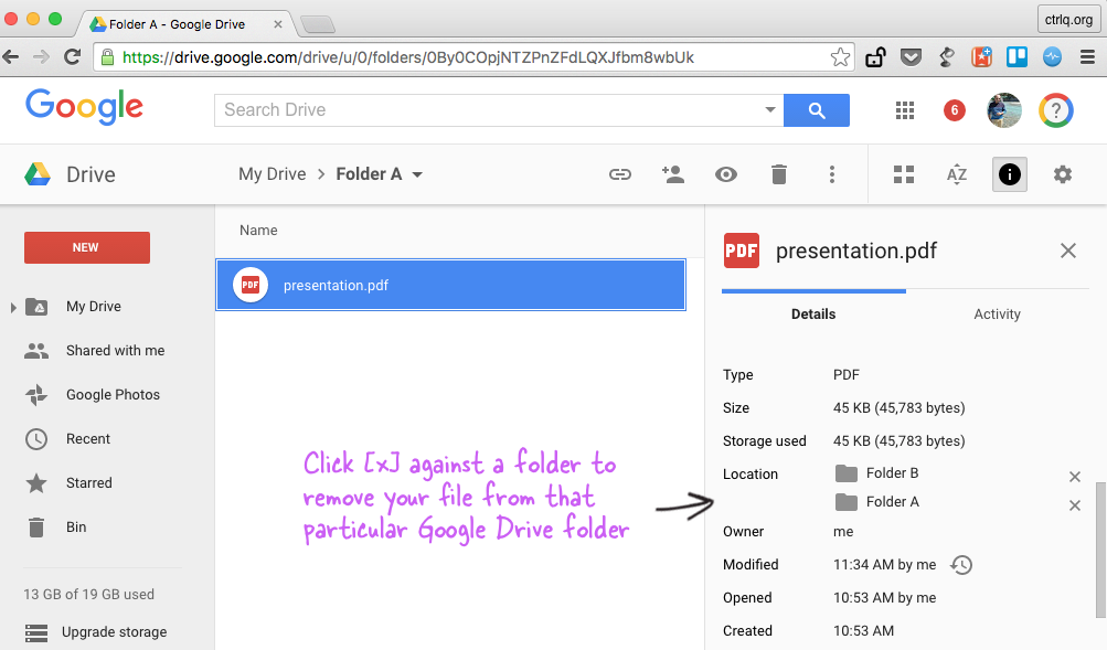 how to add google document to multiple folders