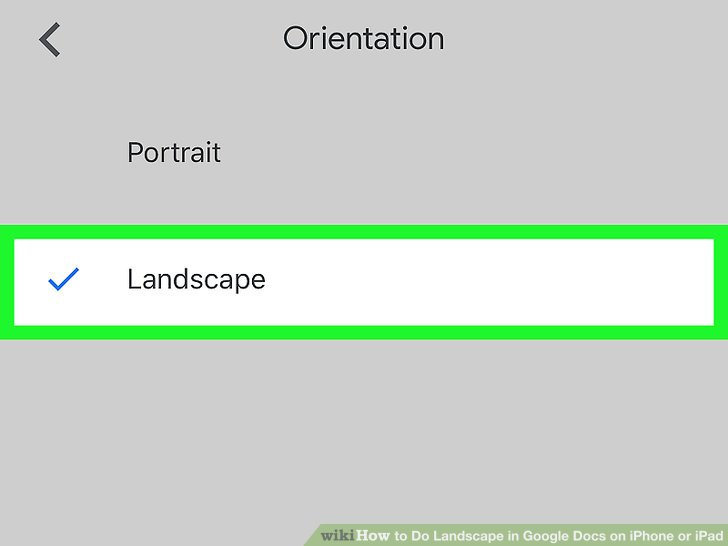 how to set a document to landscape in google docs