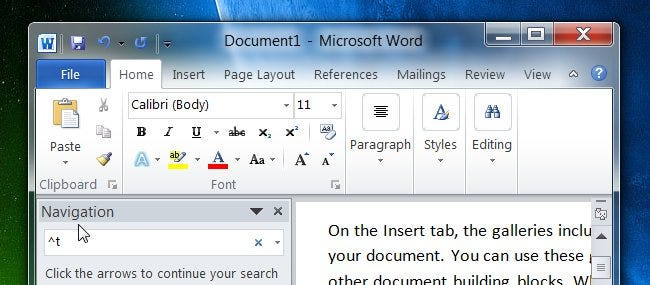 how to search in a word document