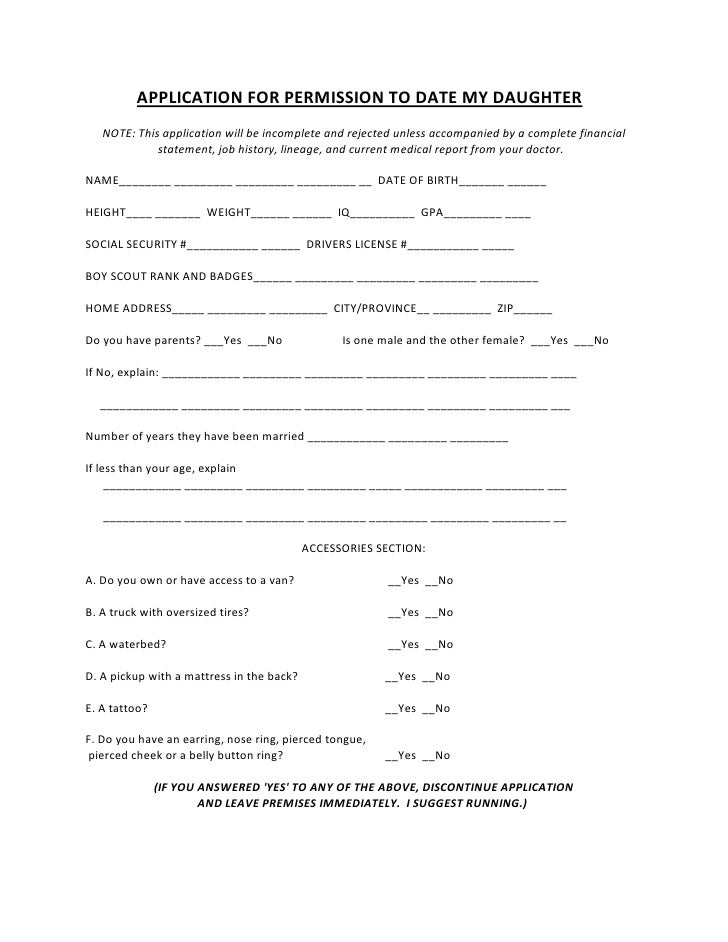 application to date my daughter word document