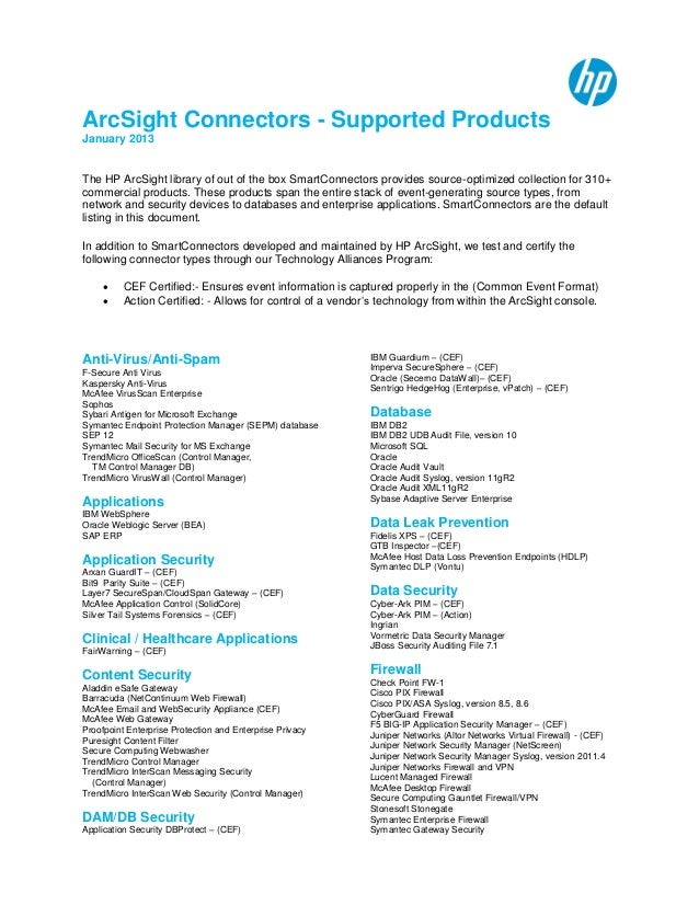 arcsight smart connector documentation