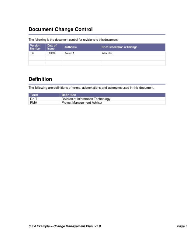 project management document control template