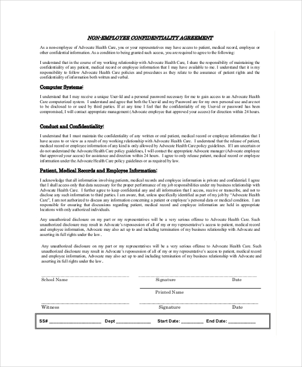 british columbia privacy and confidentiality agreement employees document