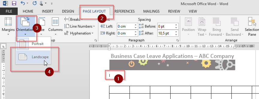 changing orientation of single word document page