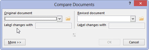 compare the original document with the revised document word 2013