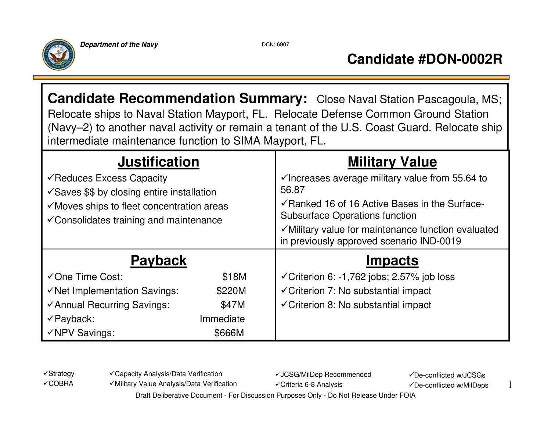 government scenario document options recommendations