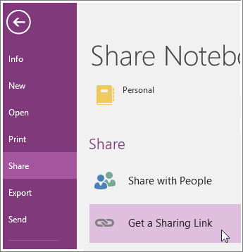 how to share onenote document with link