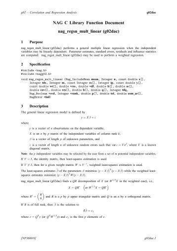 nag c library documentation