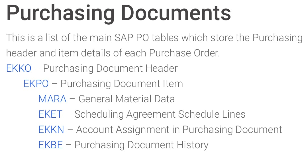 purchase order document type table in sap