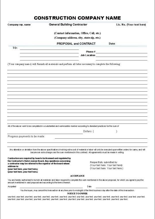 sample tender document for building construction