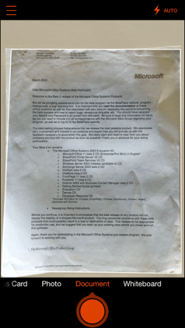 what is microsoft office document scanning