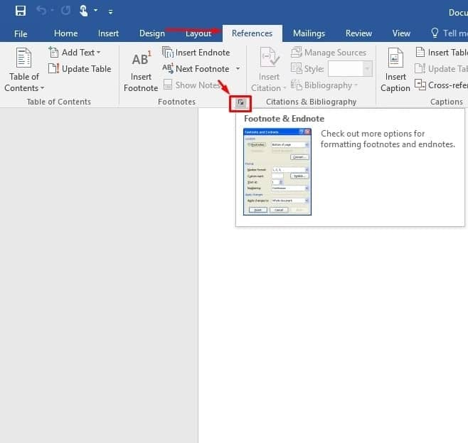 word document how to change footnotes in each page