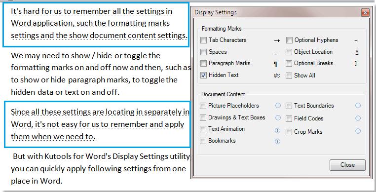 word document not showing text